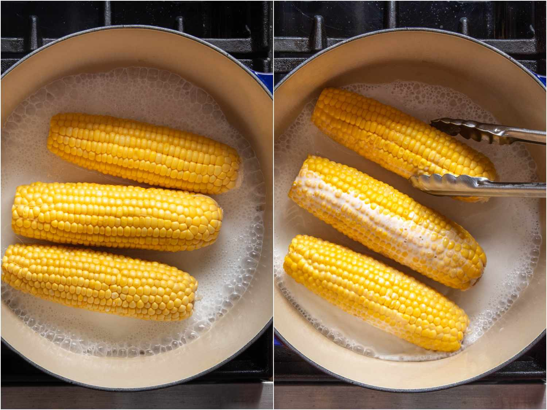 Simmering ears of corn in coconut milk in a Dutch oven.