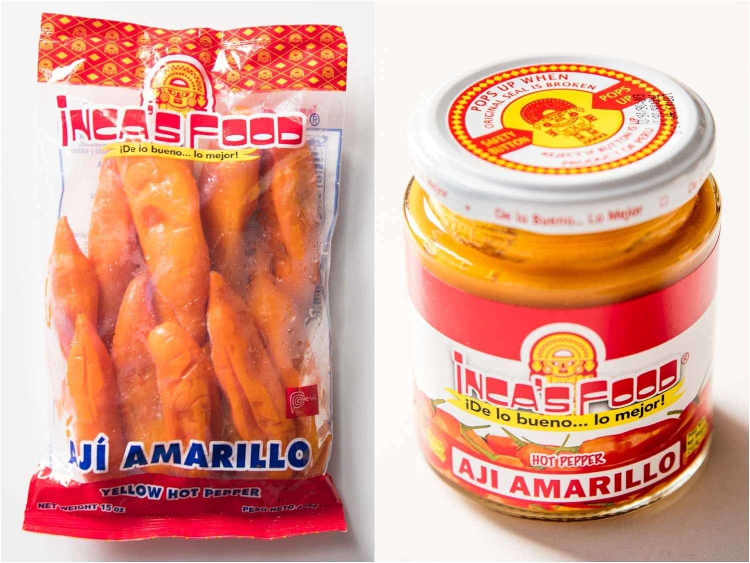 Frozen and canned Peruvian aji amarillo peppers (whole and in paste form, respectively)
