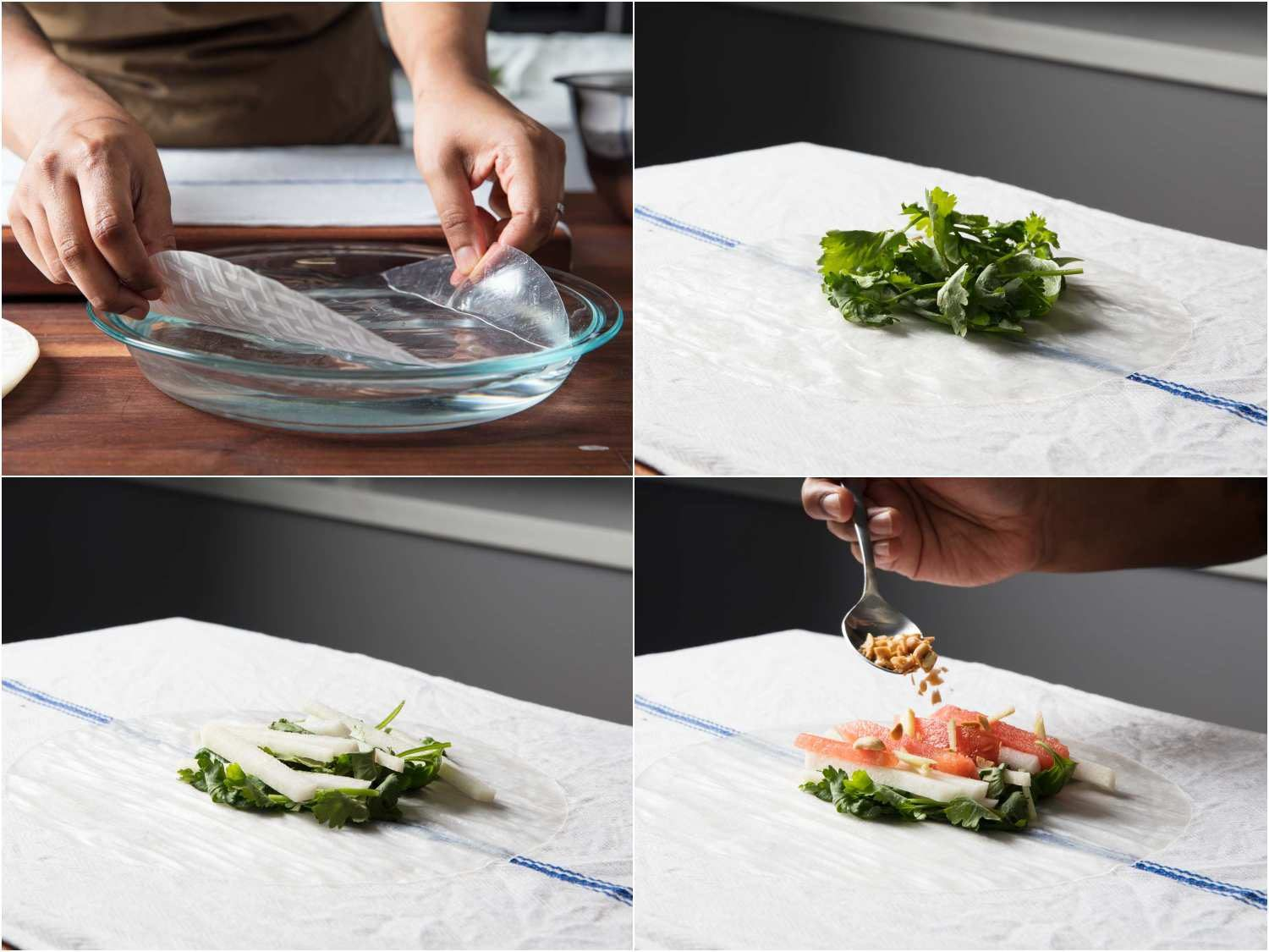 Adding watermelon, jicama, herbs, and peanuts to rice paper wrap for a summer roll