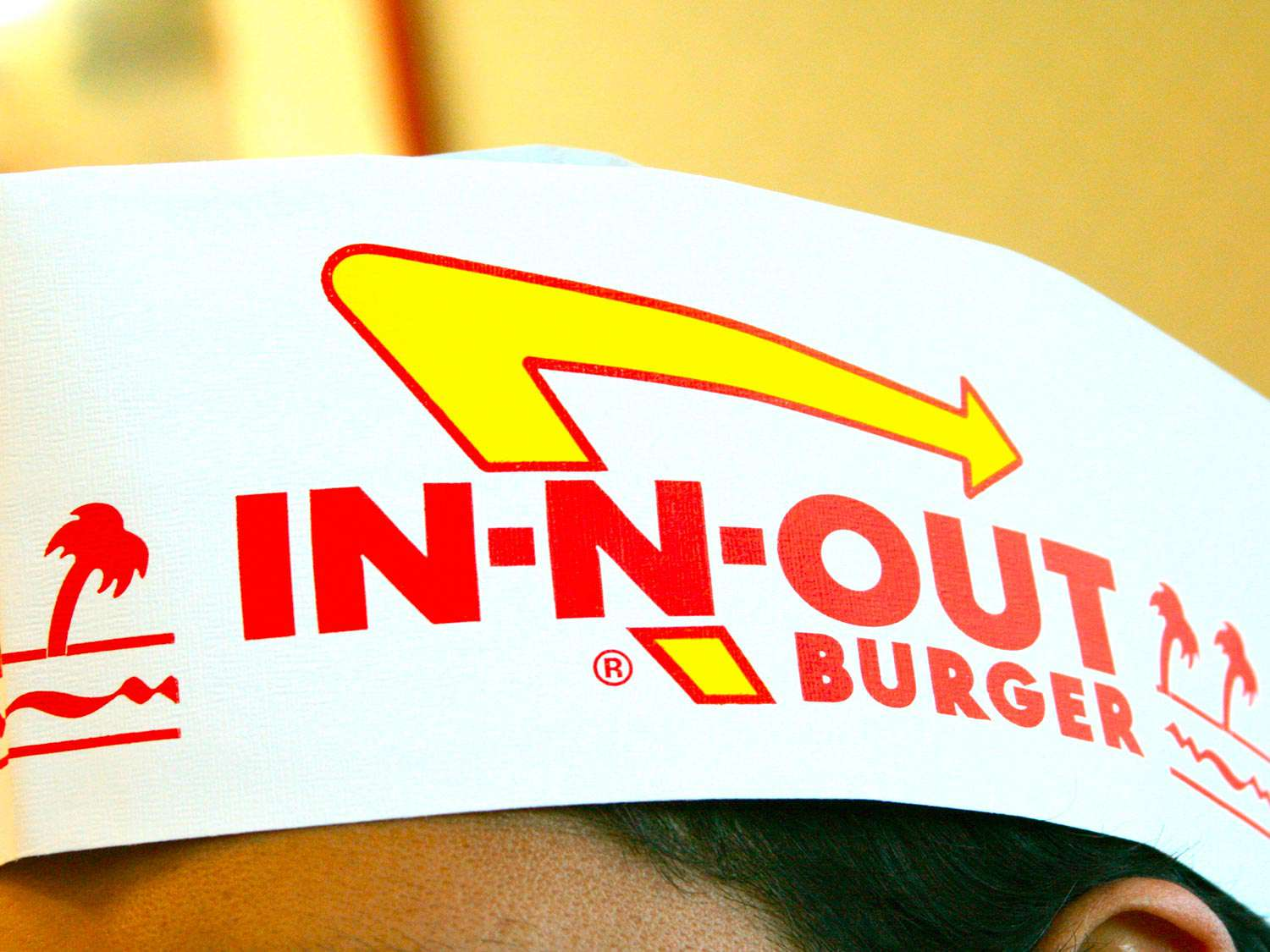 A paper In-N-Out Burger hat