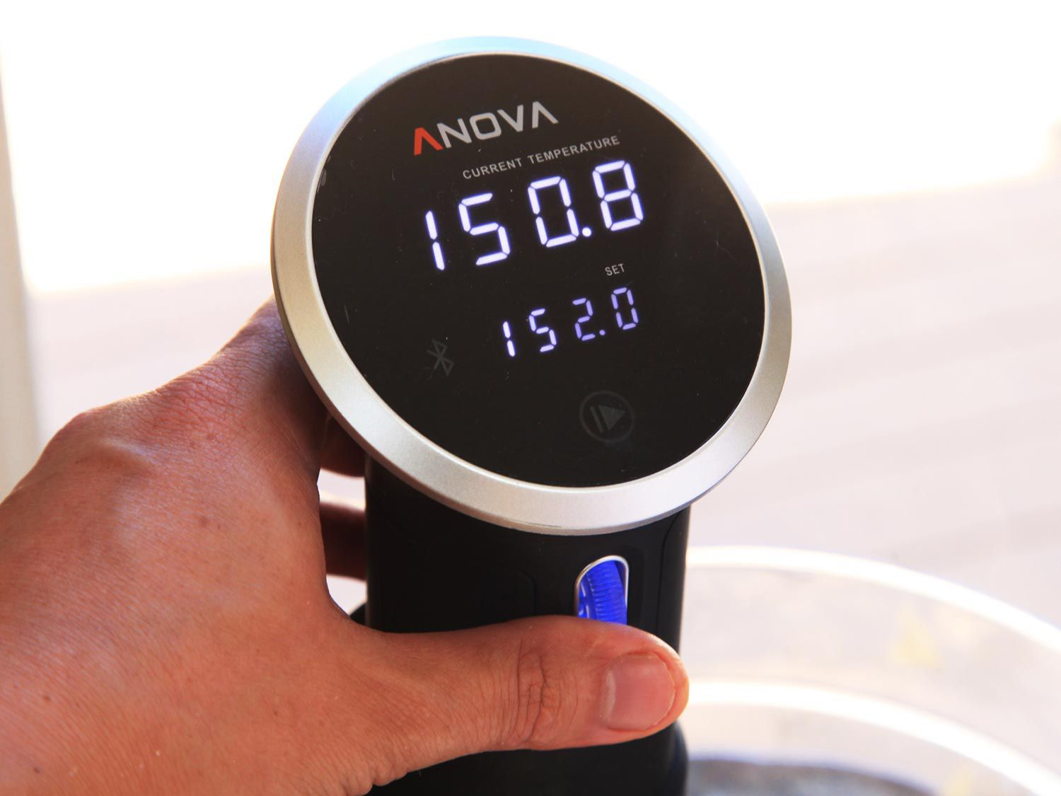Setting the temperature for sous vide pork ribs on Anova immersion circulator