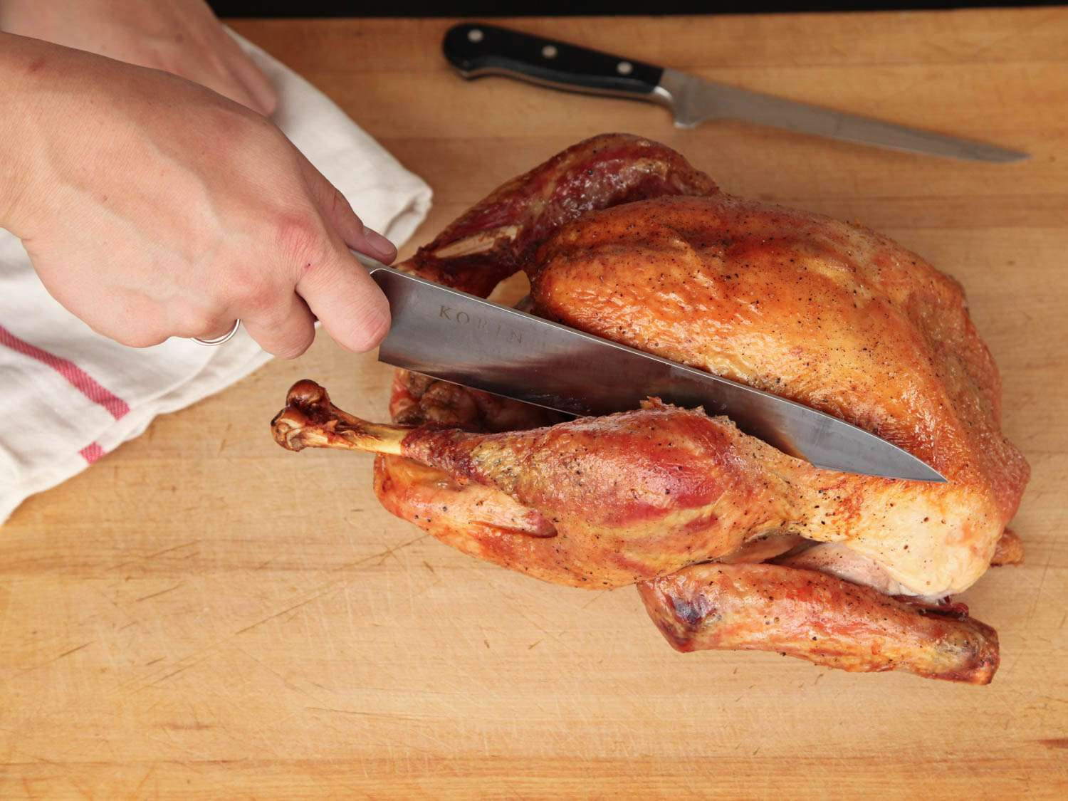carving a roasted turkey