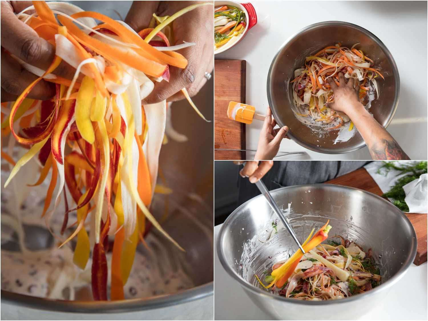 tossing carrot strips in dressing