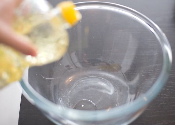 add oil to glass bowl