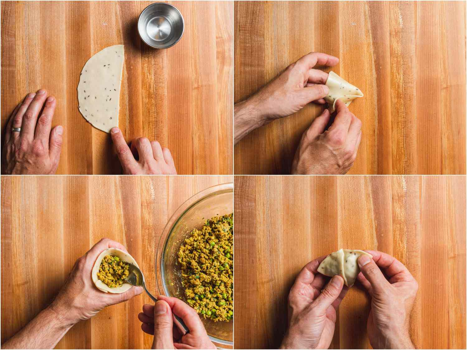 Collage of photos showing stuffing process for kheema samosa