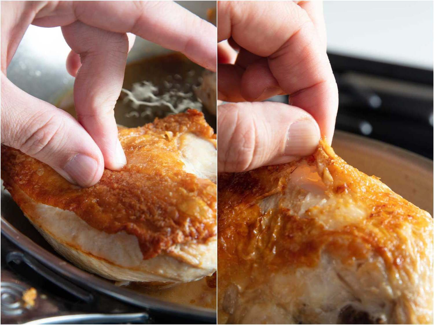 A side-by-side image showing how crisp the skin is on chicken cooked in a stainless steel skillet versus a nonstick one. The skin on from the nonstick skillet bird is easier to pinch because it's less crispy in many areas.