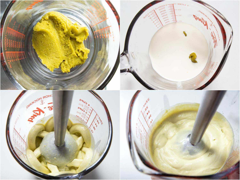 making pistachio whipped cream