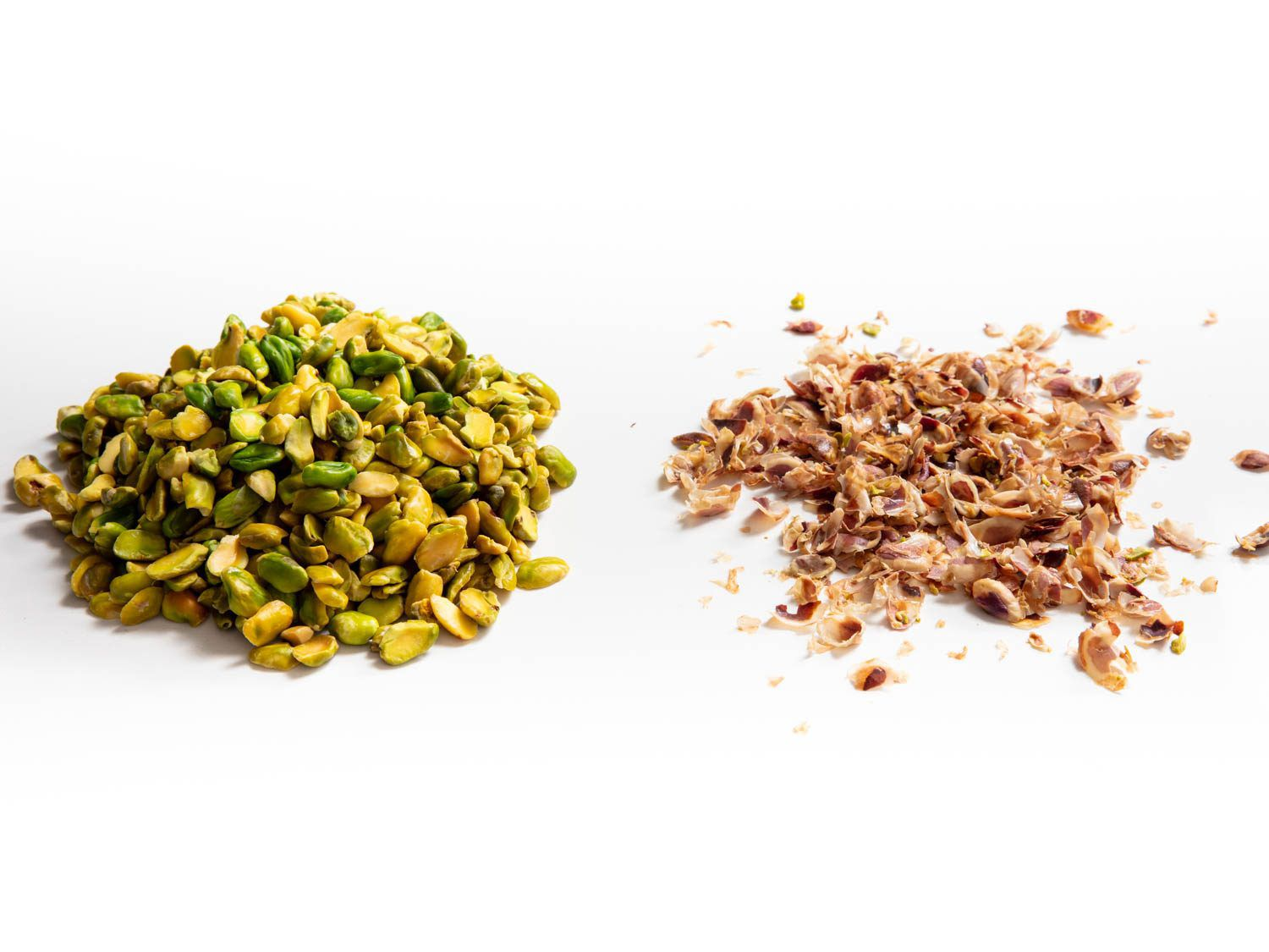 blanched American pistachios and skins