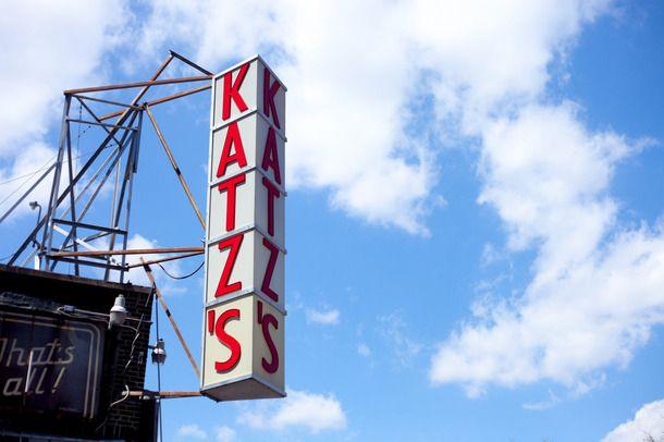 Katz's sign against blue sky.