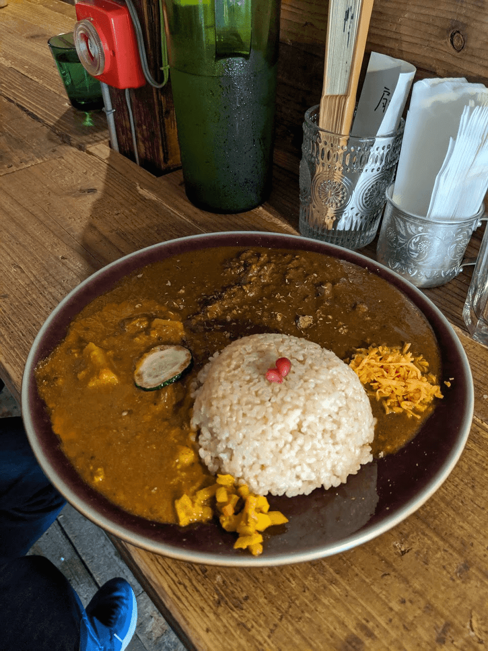 Plate of spice curry and rice