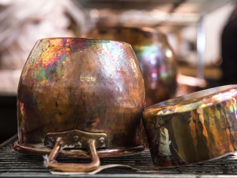 A hand-hammered copper pot