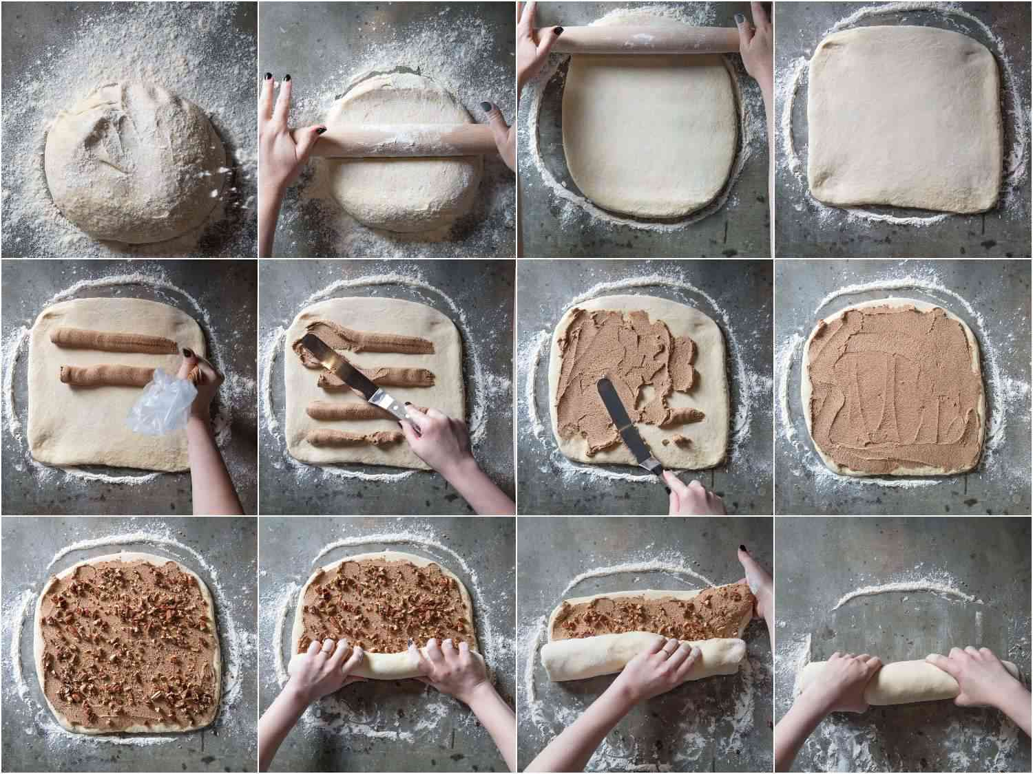 Photo collage showing the process of shaping, filling, and rolling cinnamon rolls.