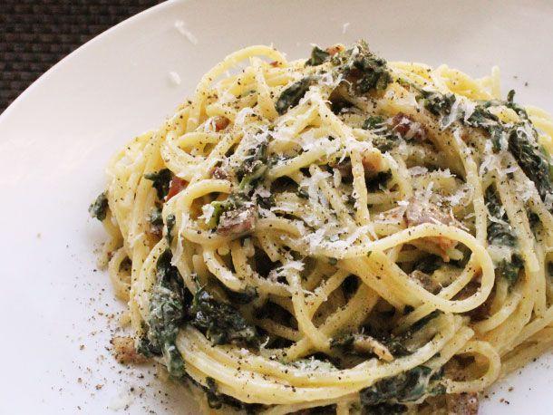 Spaghetti alla Carbonara with Kale