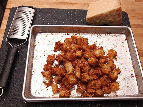 Golden baked croutons on a sheet pan
