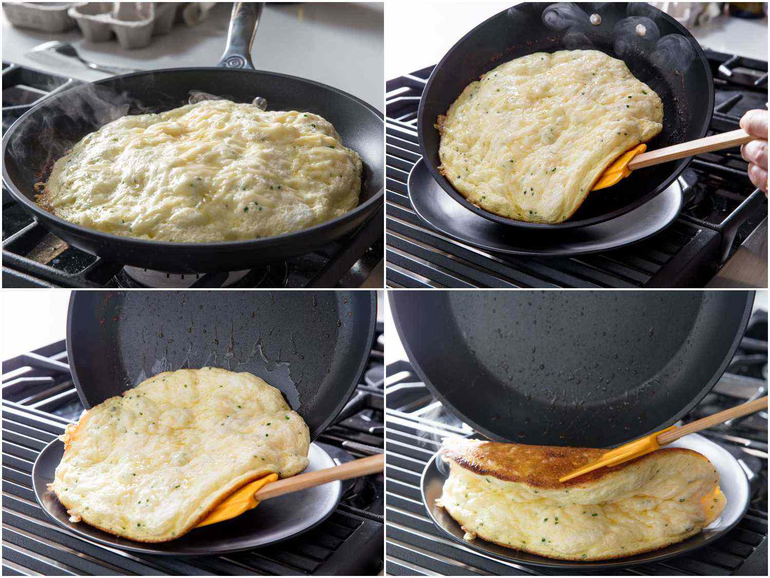 Photo collage showing fully cooked soufflé omelette and the process or sliding it out of the skillet onto a serving plate.