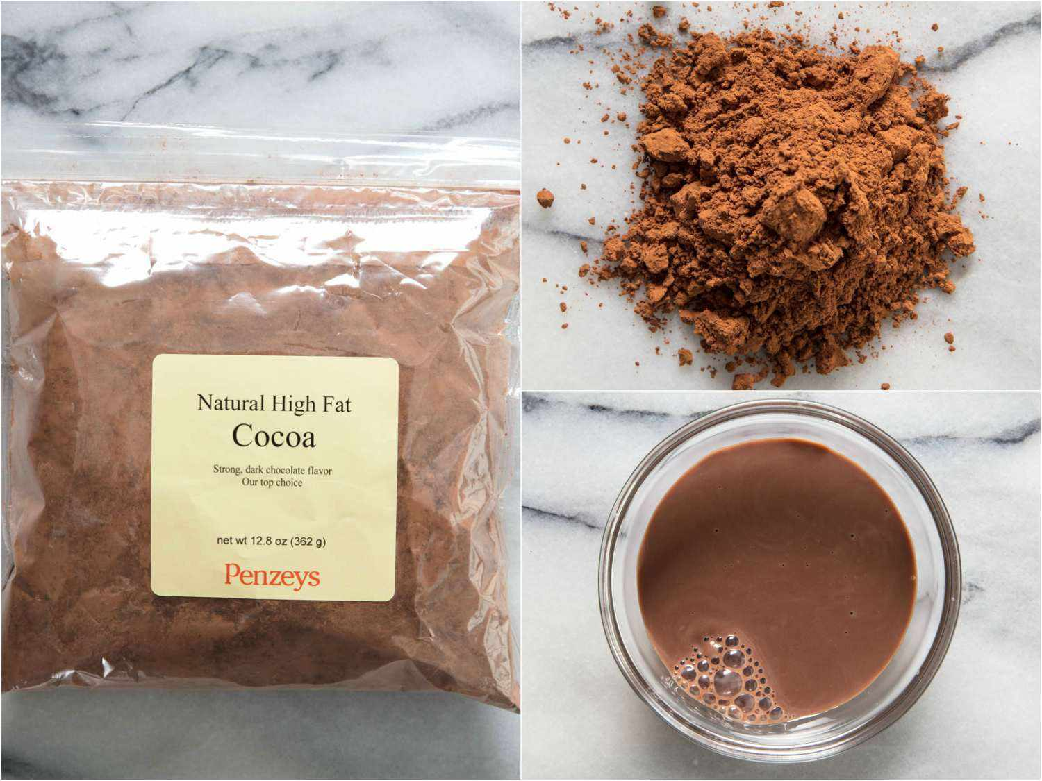 Collage of Penzeys cocoa powder, by itself, in hot cocoa, and in the packaging