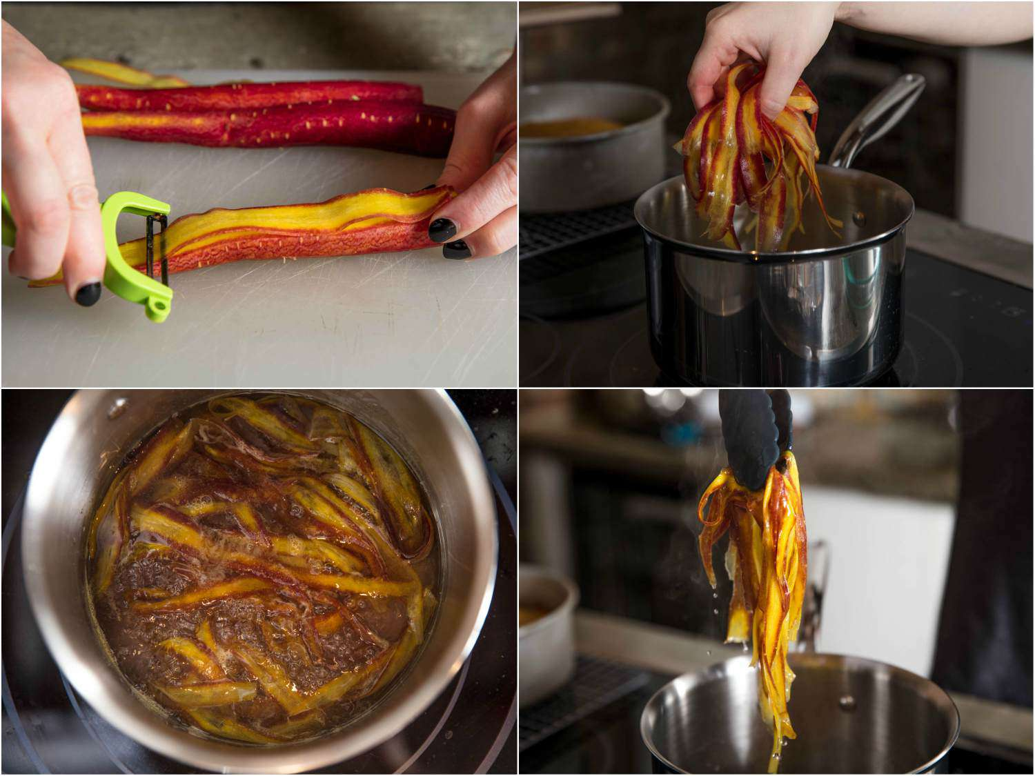 Collage of photos of making decorative carrot roses: peeling wide strips of carrot, dropping carrot strips in simple syrup, overhead shot of carrot strips in syrup, lifting strips from syrup with tongs