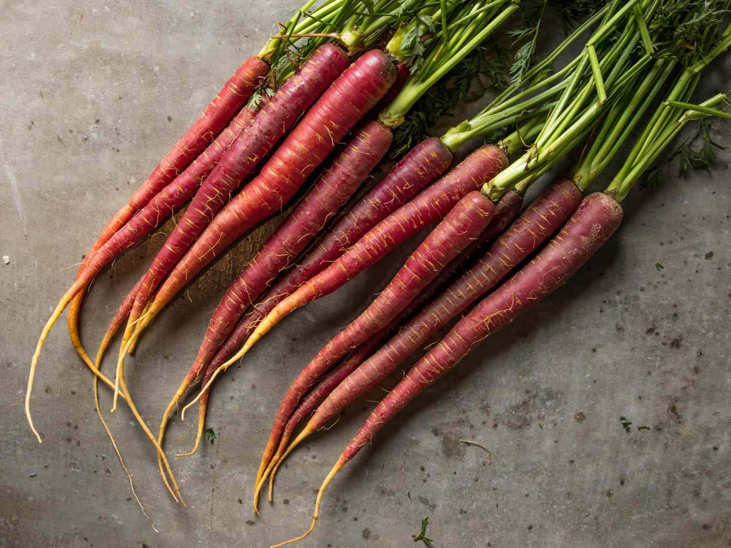 A bunch of red and purple carrots