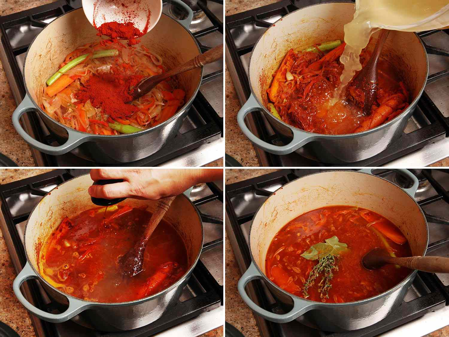 A collage showing the steps of making goulash in an enamel cast iron Dutch oven on a cooktop.
