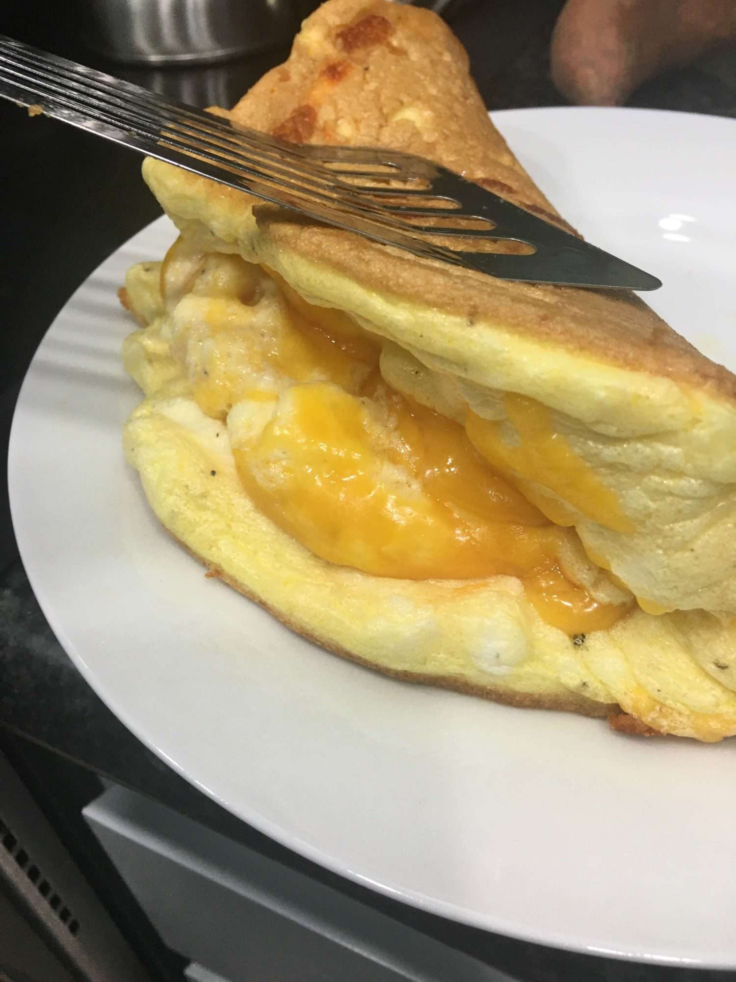 view inside a souffle omelette