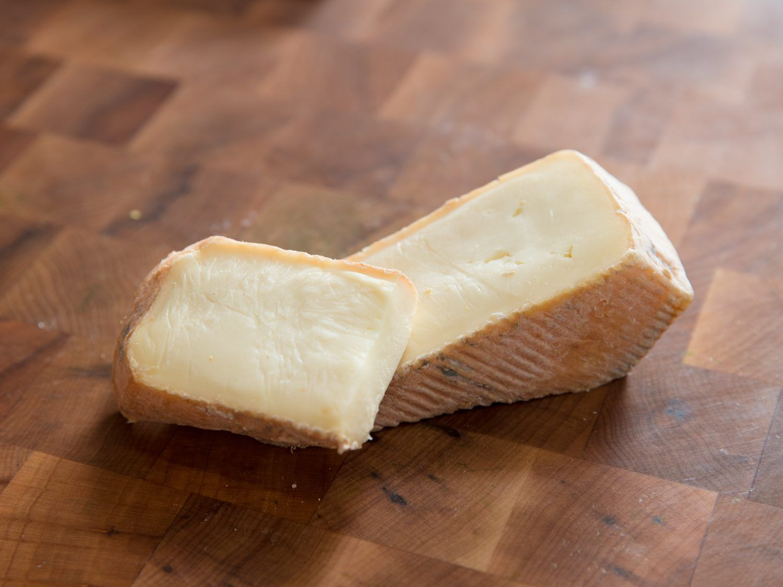 Closeup of Taleggio cheese.