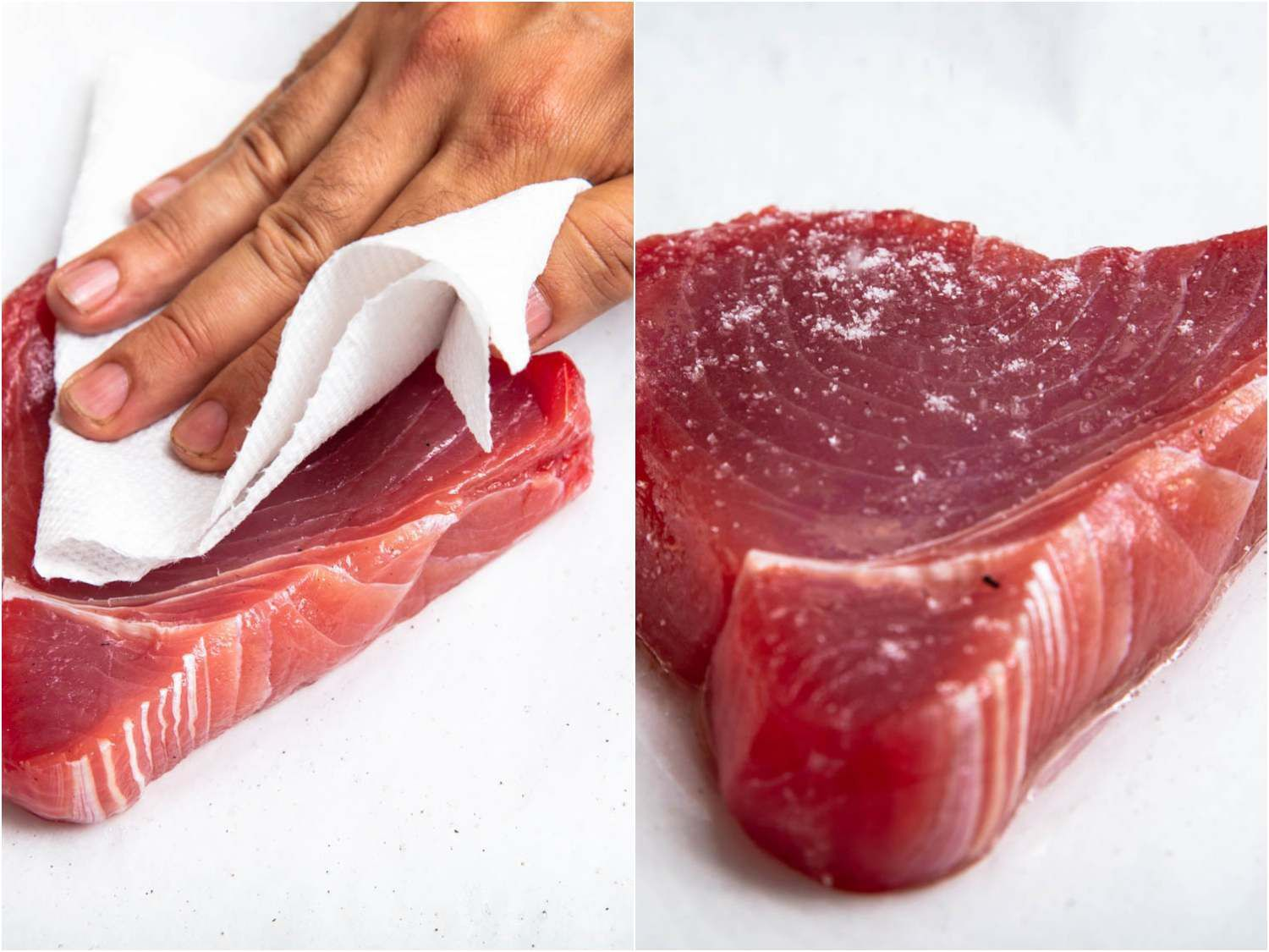 Before grilling tuna steaks should be dried well with paper towels as shown in the photo at left; then it should be lightly rubbed with oil and seasoned with salt (photo at right)