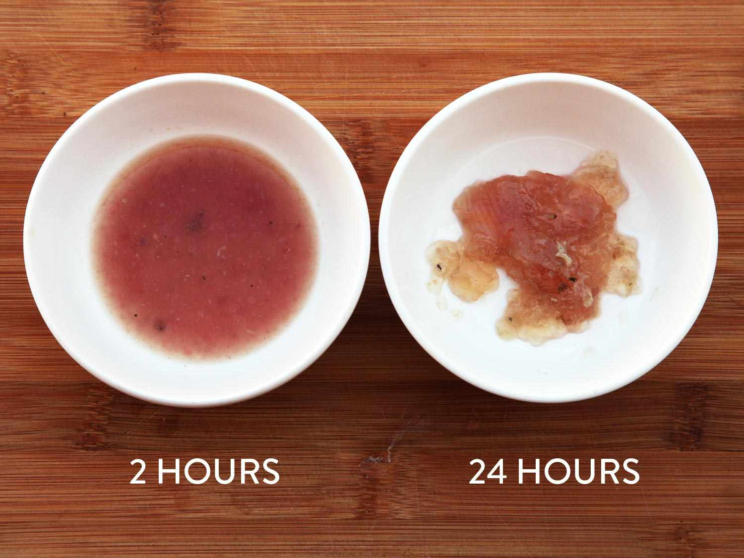 Samples of juice expressed from two batches of sous vide chicken breast, one cooked for two hours and one cooked for 24 hours, both at 145°F
