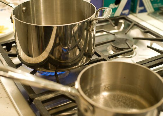 two pots on stovetop