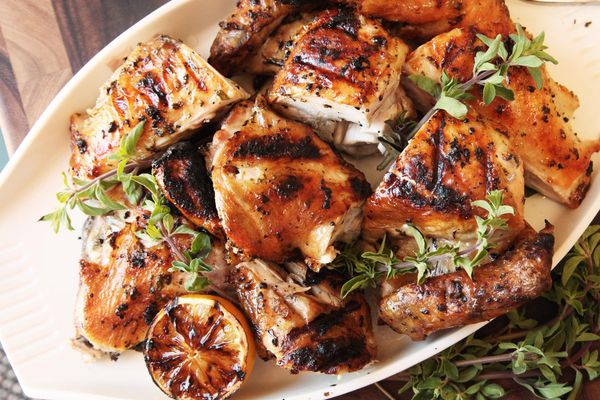 Greek-style grilled chicken with oregano and lemons