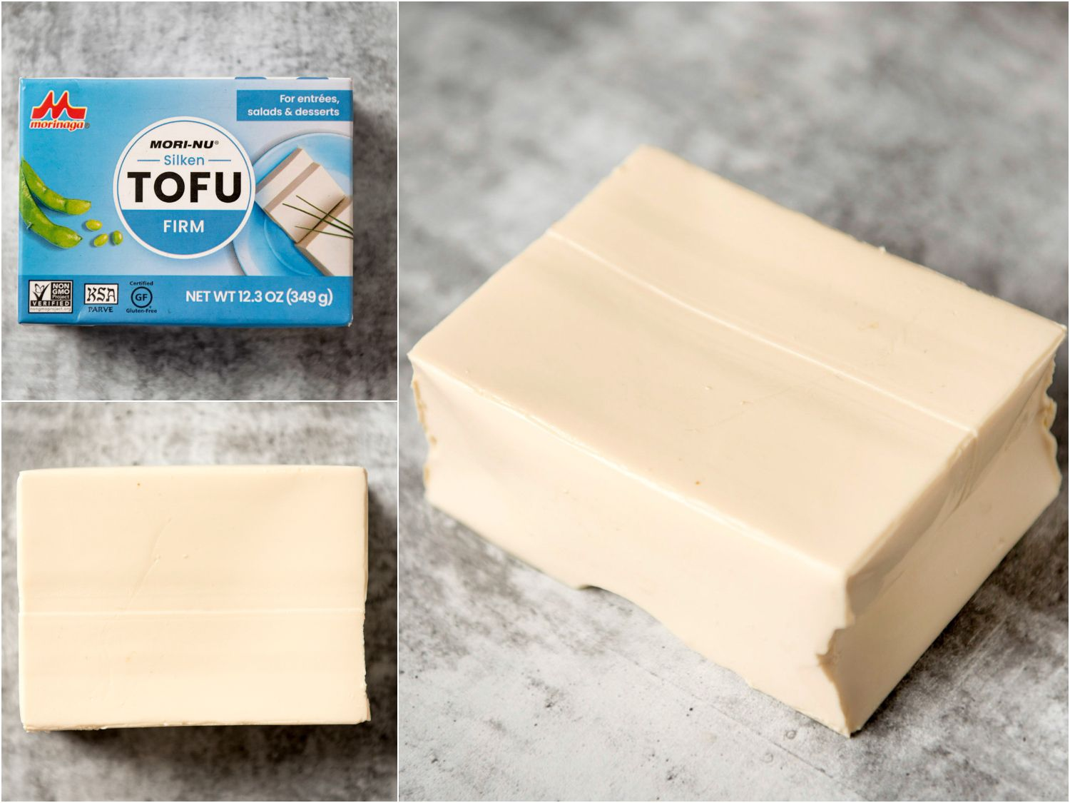 collage: firm silken tofu in packaging; unpackaged; side angle