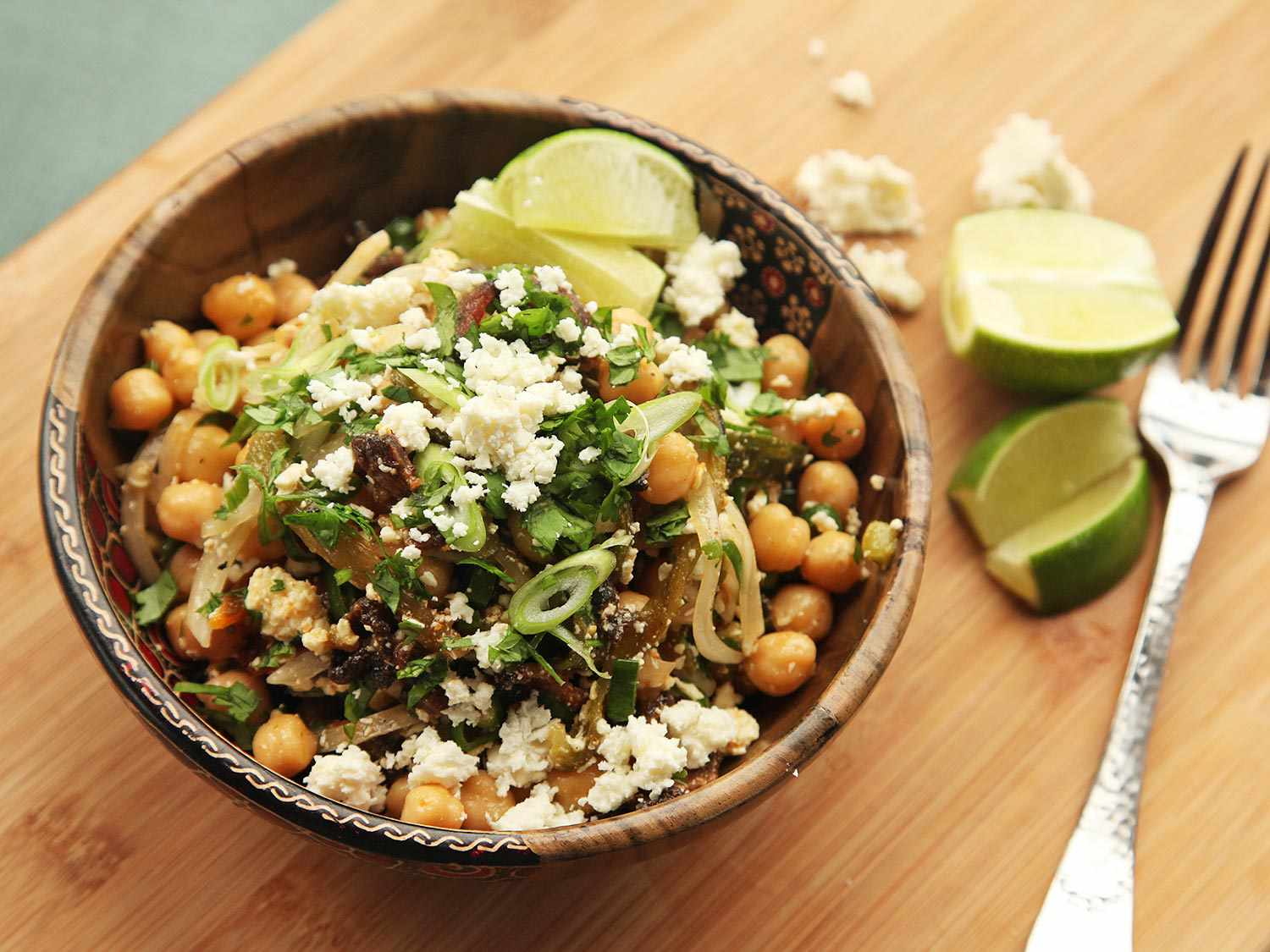 Chickpea Salad With Bacon, Cotija, and Roasted Chilies