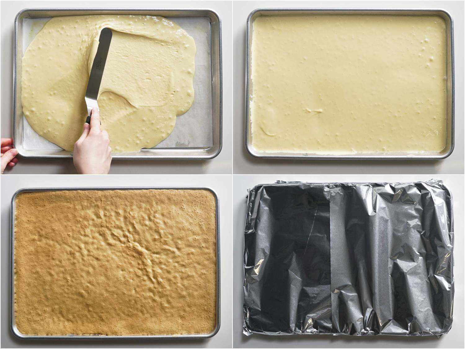 Smoothing the jelly roll batter into an even layer, baking until golden brown, and cooling under foil