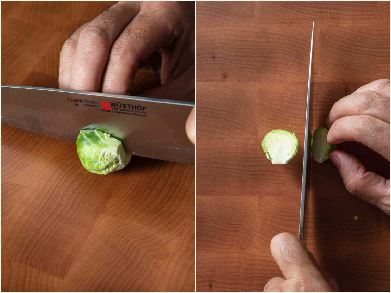 A two-photo collage showing a Brussels sprout being cut in half lengthwise through the core.