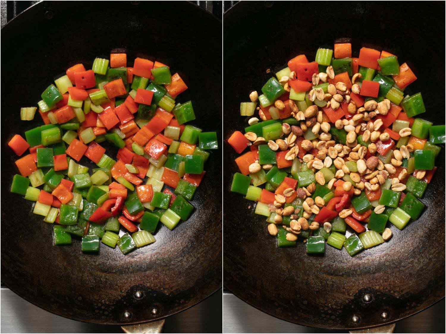 Photo collage showing stir-frying bell peppers and celery, and then adding peanuts, for takeout-style kung pao chicken.