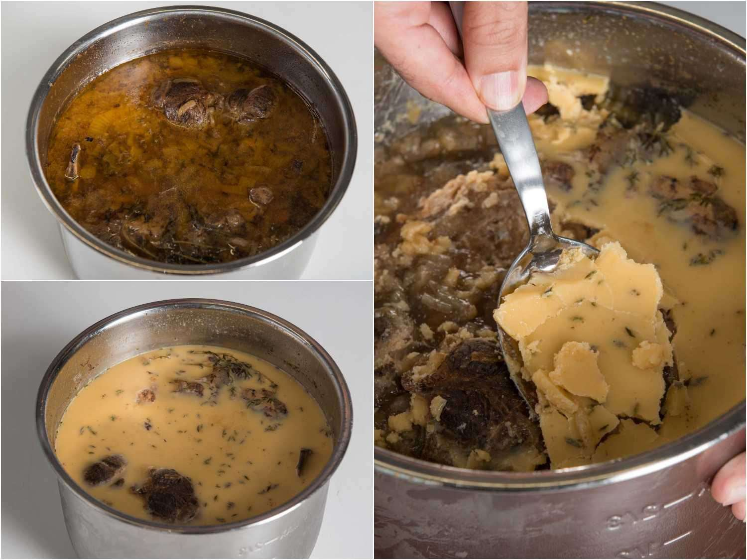 Scraping the congealed fat off the surface of cold beef stock