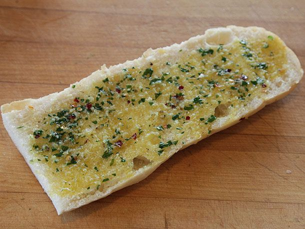 French bread with butter mixture