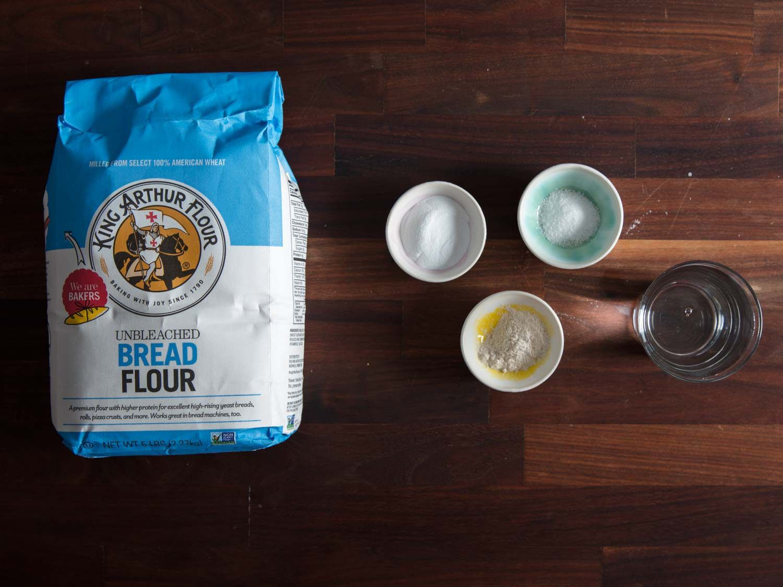 Ingredients for homemade alkaline noodles: King Arthur bread flour, baked baking soda, salt, vital wheat gluten, water