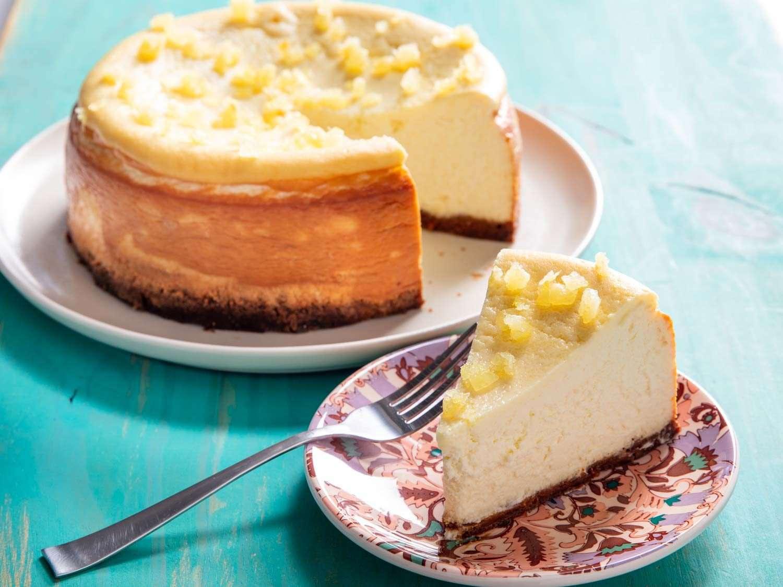 slice of ricotta lemon cheesecake