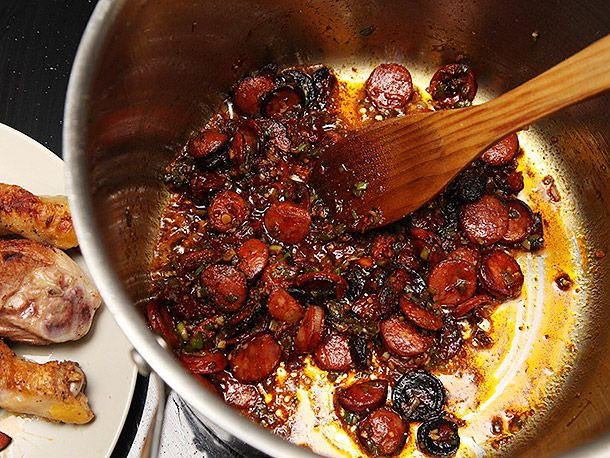 Toasting aromatics in oil with chorizo in a stock pot.