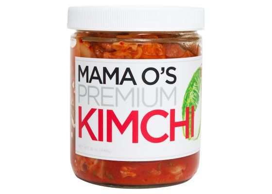 A jar of Mama O's Premium Kimchi