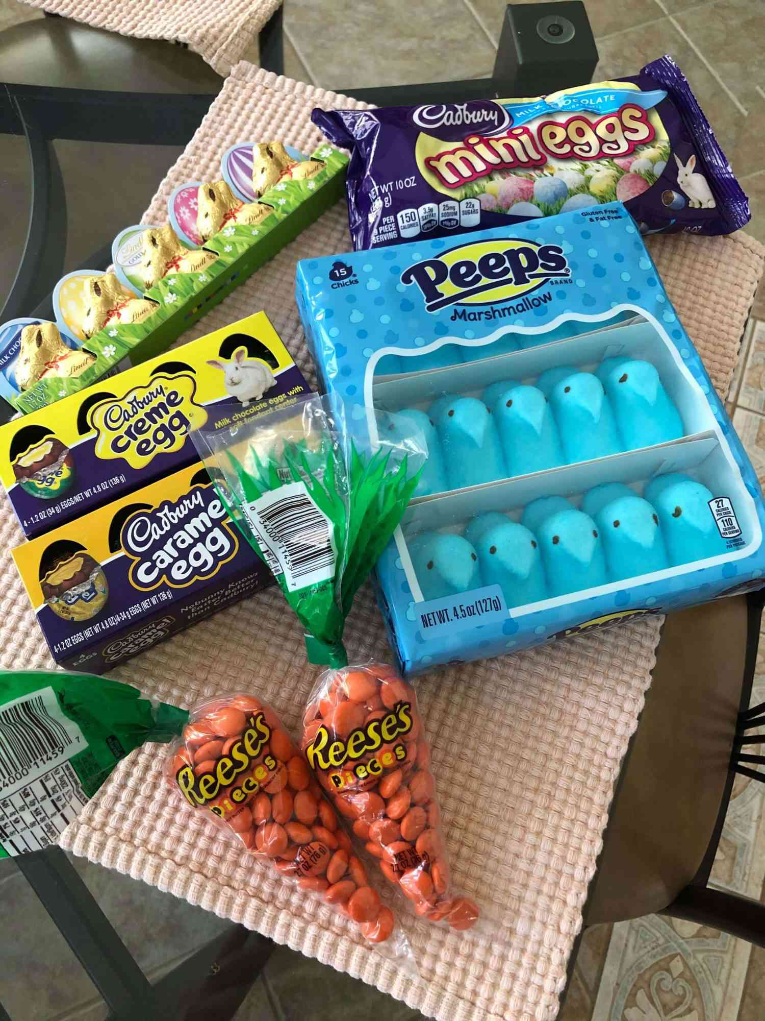 bunch of easter candy on a table