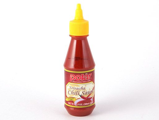 a bottle of Polar Sriracha sauce