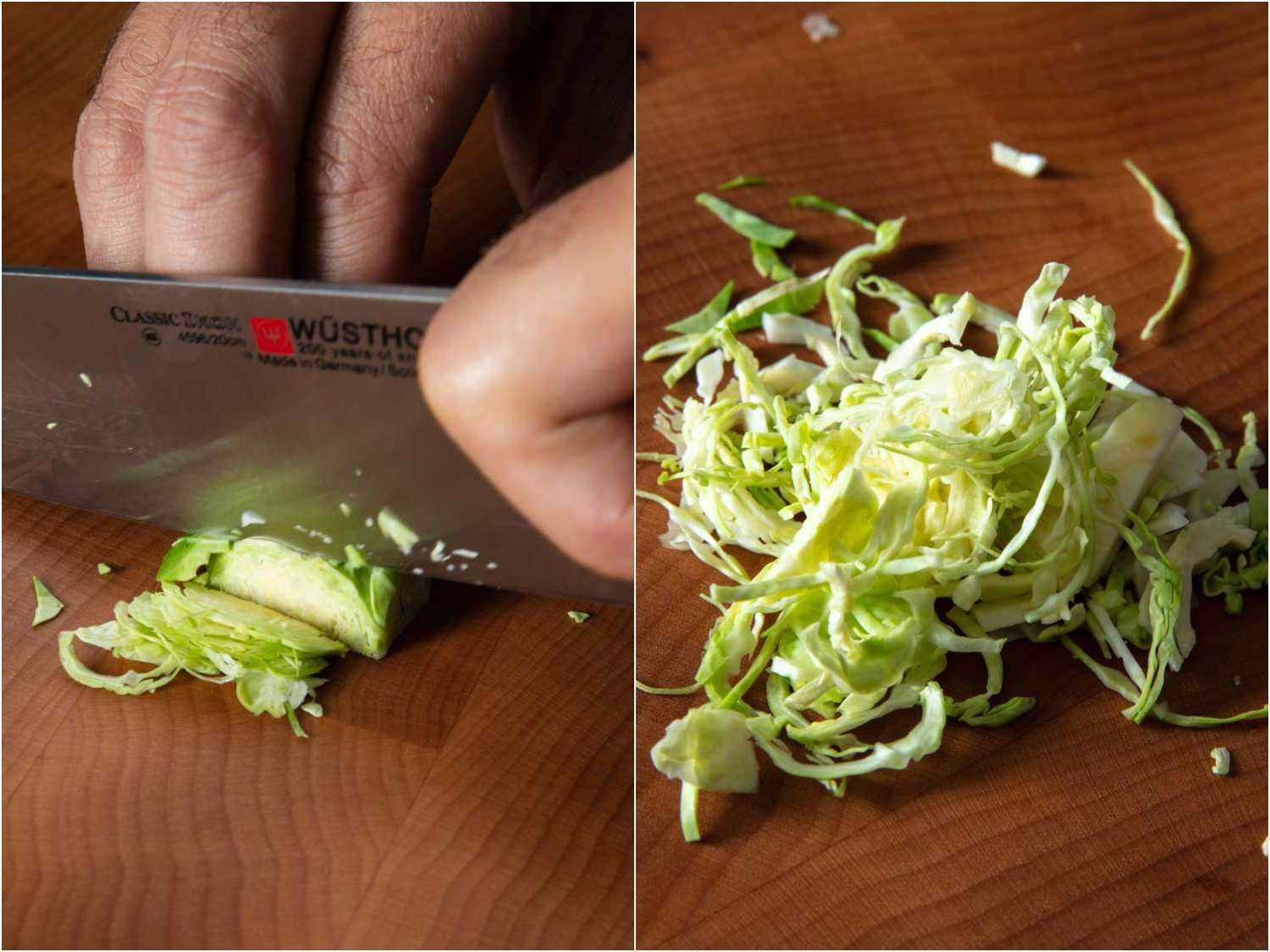 A two-photo collage showing Brussels sprouts being cut into thin slivers with a chef's knife, then the second photo shows the pile of thinly sliced sprouts on the cutting board