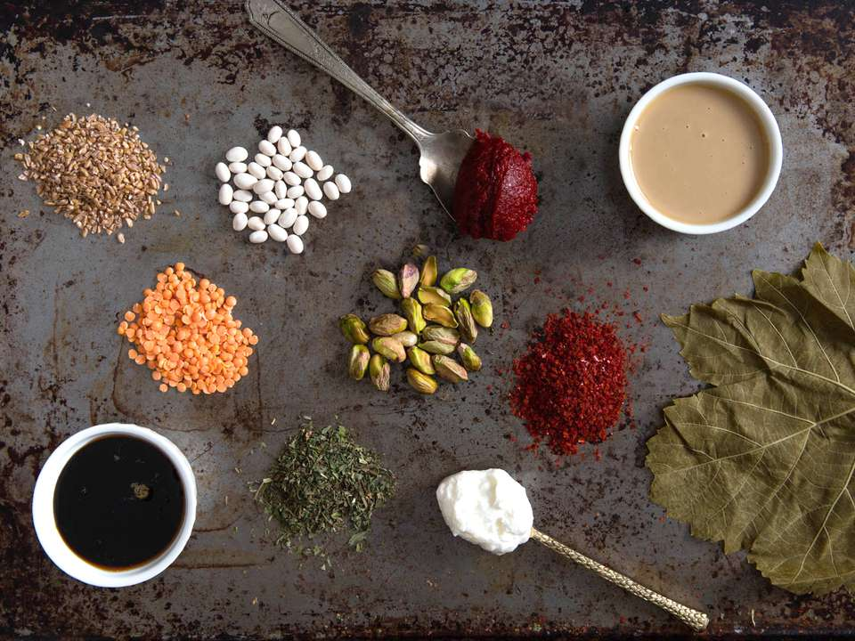Small piles of ingredients and spices used in Turkish cooking.