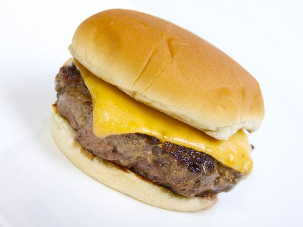 cheeseburger with white backdrop