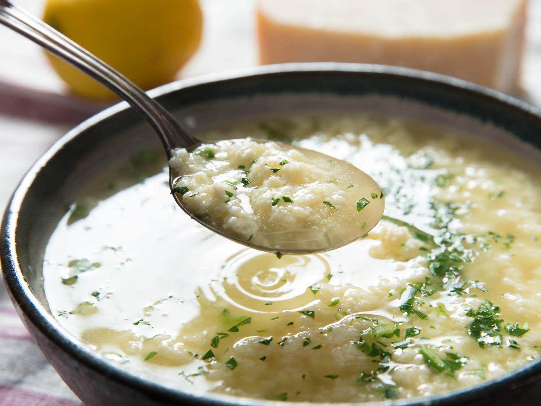 Steamy spoonful of stracciatella soup