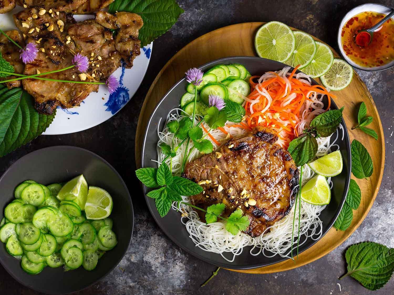 vietnamese grilled pork chop noodle recipe Vietnamese Grilled Pork Chops With Chilled Rice Noodles Recipe