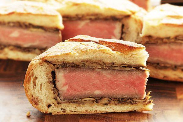 The inside of a shooter sandwich.