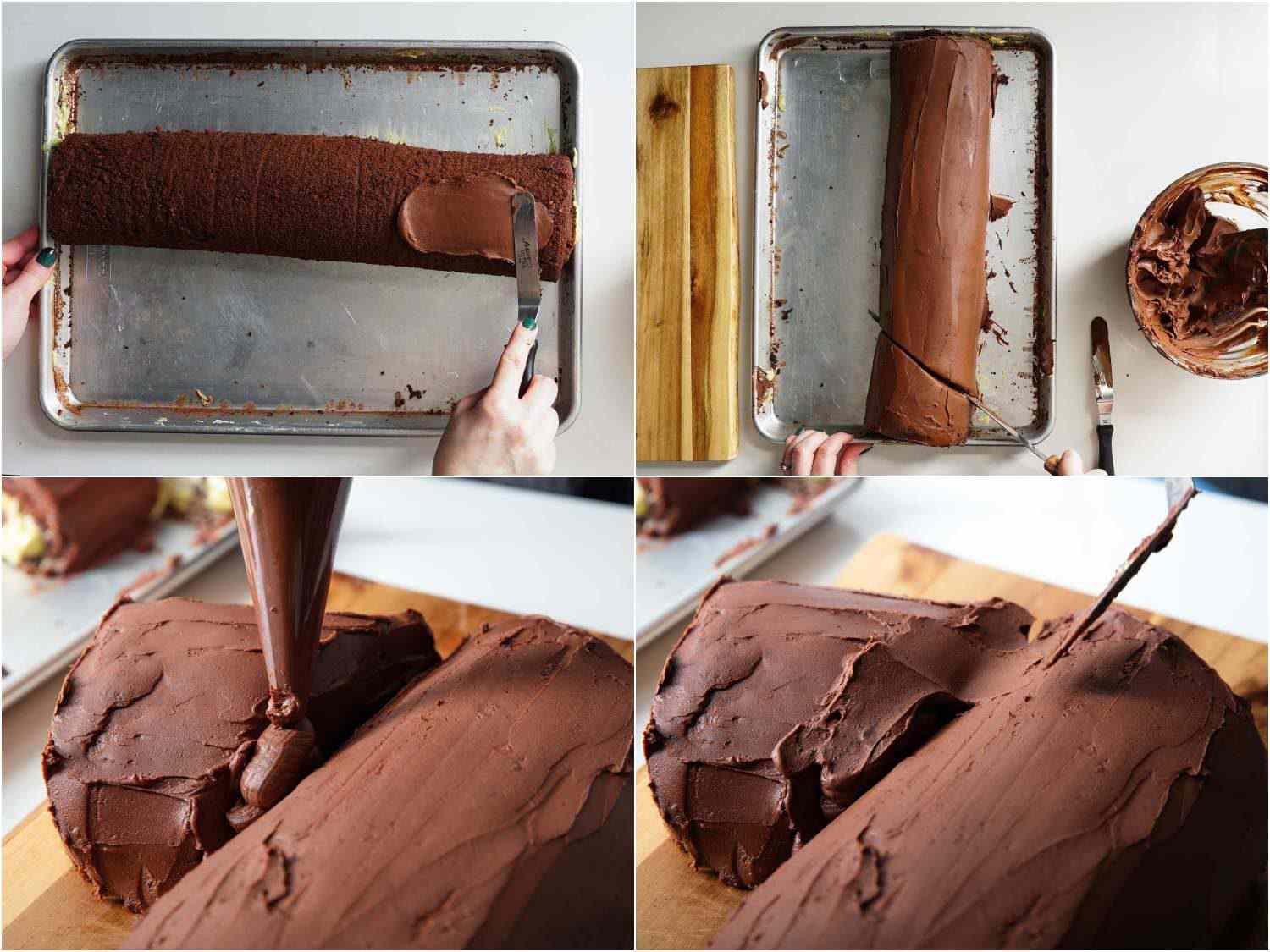 Frosting the yule log with ganache and assembling