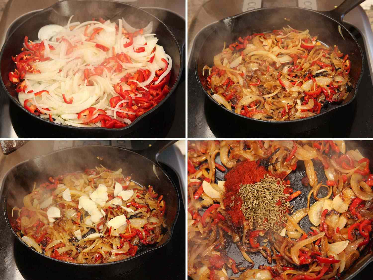 Photo collage showing charring onions and peppers in cast iron skillet, then stirring in garlic and spices, for shakshuka.